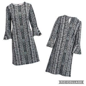 Grey Animal Print Scoop Neck Shift Dress